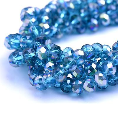 10 Mm Faceted Glass - Glass Rondelle Faceted Montana Blue AB Beads loose spacer AAA 4mm 6mm 8mm 10mm