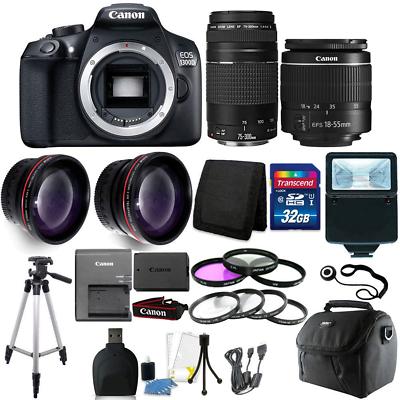 Canon EOS 1300D/T6 18MP DSLR Camera + 18-55mm + 75-300mm