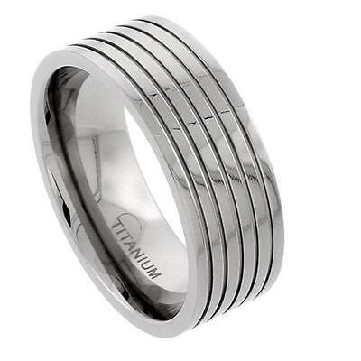 9mm Titanium Flat Wedding Band Ring, 5 Grooves Polished Finish Comfort Fit