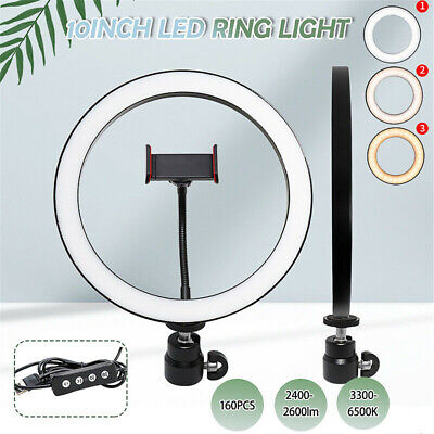 10″ LED Ring Fill Light Studio Photo Video USB Dimmable Lamp Selfie Portable US Camera & Camcorder Lights