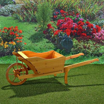 XXL Schubkarre Blumenkübel Holzschubkarre Pflanzkarre Holz 1,25m Garten Holz