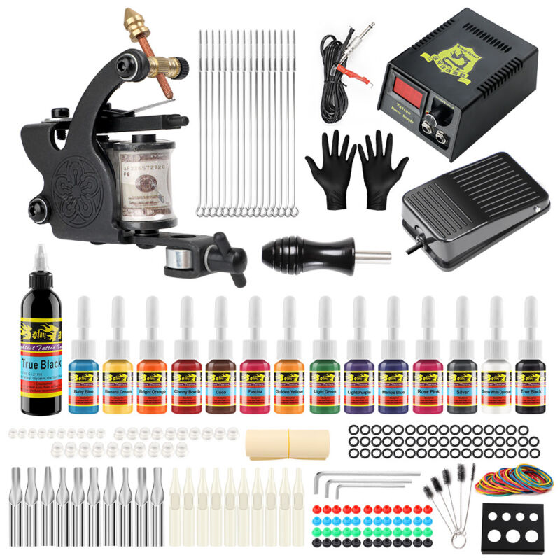 Complete Tattoo Kit 1 machine Gun 14 Color Inks Power Supply TK102
