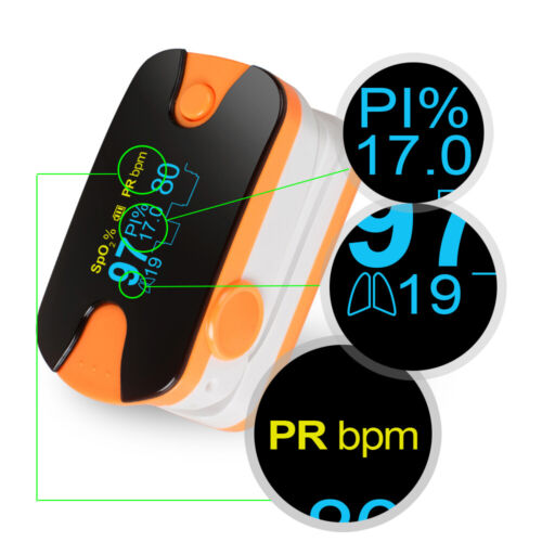 Portable Lab OLED Finger Pulse Oximeter 4 Parameter SPO2 PR PI Respiration Rate