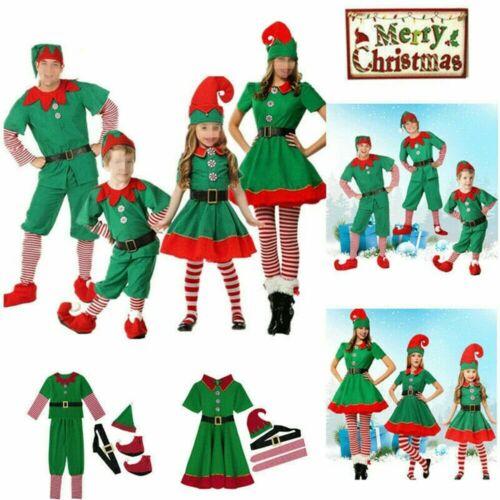 Kinder Erwachsene Elfen Weihnachten Familie Set Xmas Party Weihnachtself Kostüm