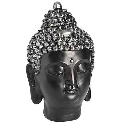 Dark Buddha Head Ornament - Ethnic Scultpture Art Home Interior Décor Accessory