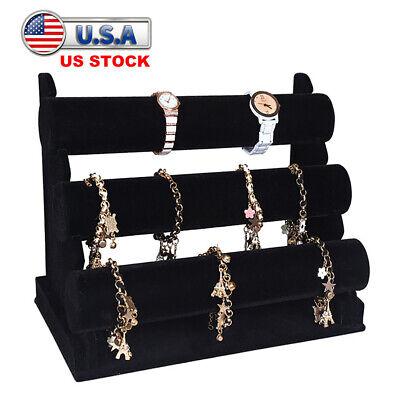 3-tier Velvet Jewelry Rack Stand Bracelet Watch Earing Dispaly Organize Holder