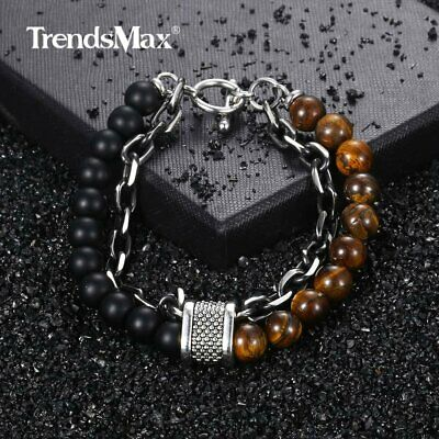 Mens Beaded Bracelet Tiger Eye Stone Stainless Steel Link Chain Jewelry 8