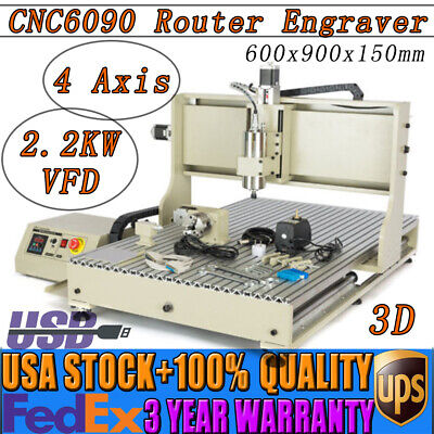 Usb 6090 Cnc Router 4 Axis Engraving Milling Machine 3d 2.2kw Water-cooled Vfd