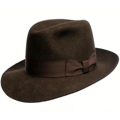 18aab649738 Indiana Style Wool Felt Fedora Hat - Mens Indiana Jones Inspired Lined Hat