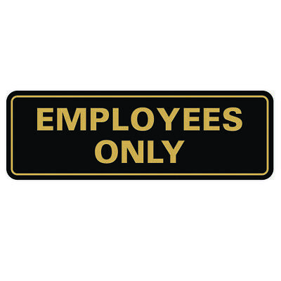 Classic Employees Only Sign - Black Gold Large 3 X 9