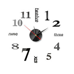 DIY Large Wall Clock Stickers 3D Mirror Surface Number Home Room Decor Modern US