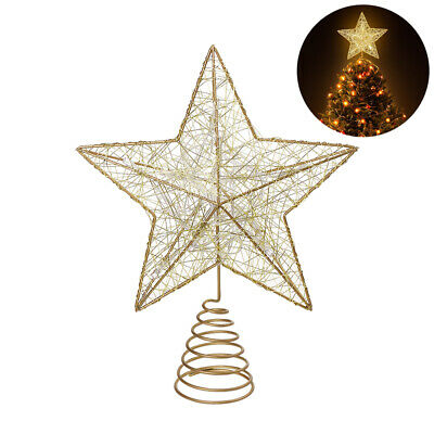 LED Christmas Tree Topper STAR Light-up Gold Decoration Chasing Function