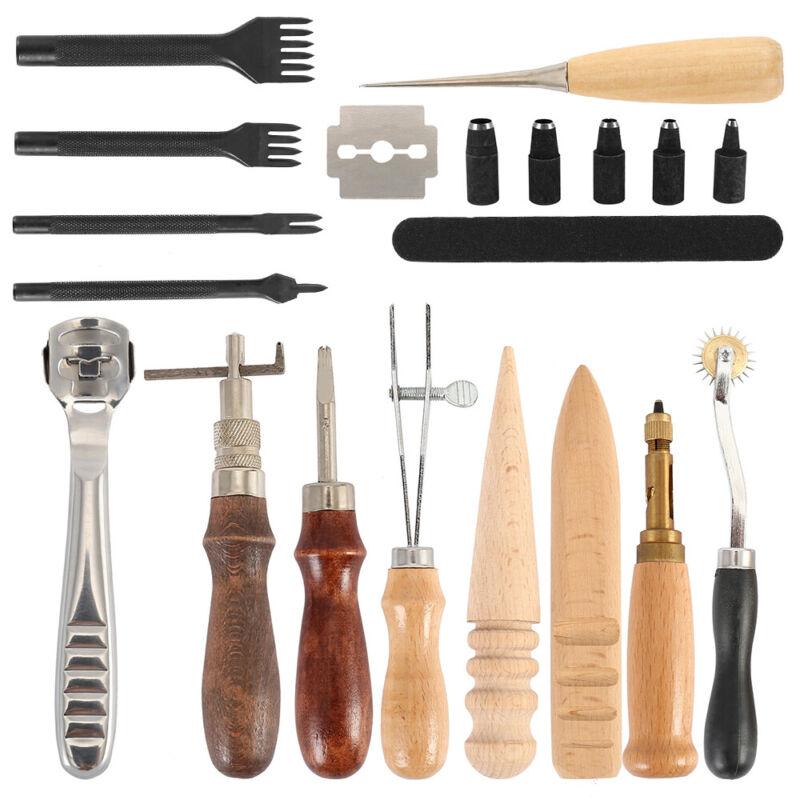 18PCS Set Leather Craft Punch Tool Kit Stitching Engraving Work Sewing Saddle