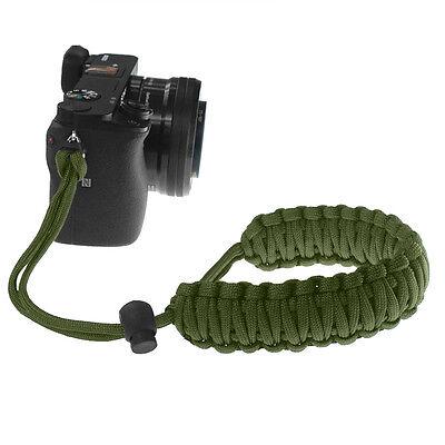 Olive Drab Braided 550 Paracord Adjustable Camera Wrist Strap Bracelet