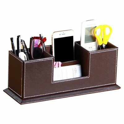 Pu Leather 4 Compartment Desk Organizer Penpencilbusiness Cardsmobile