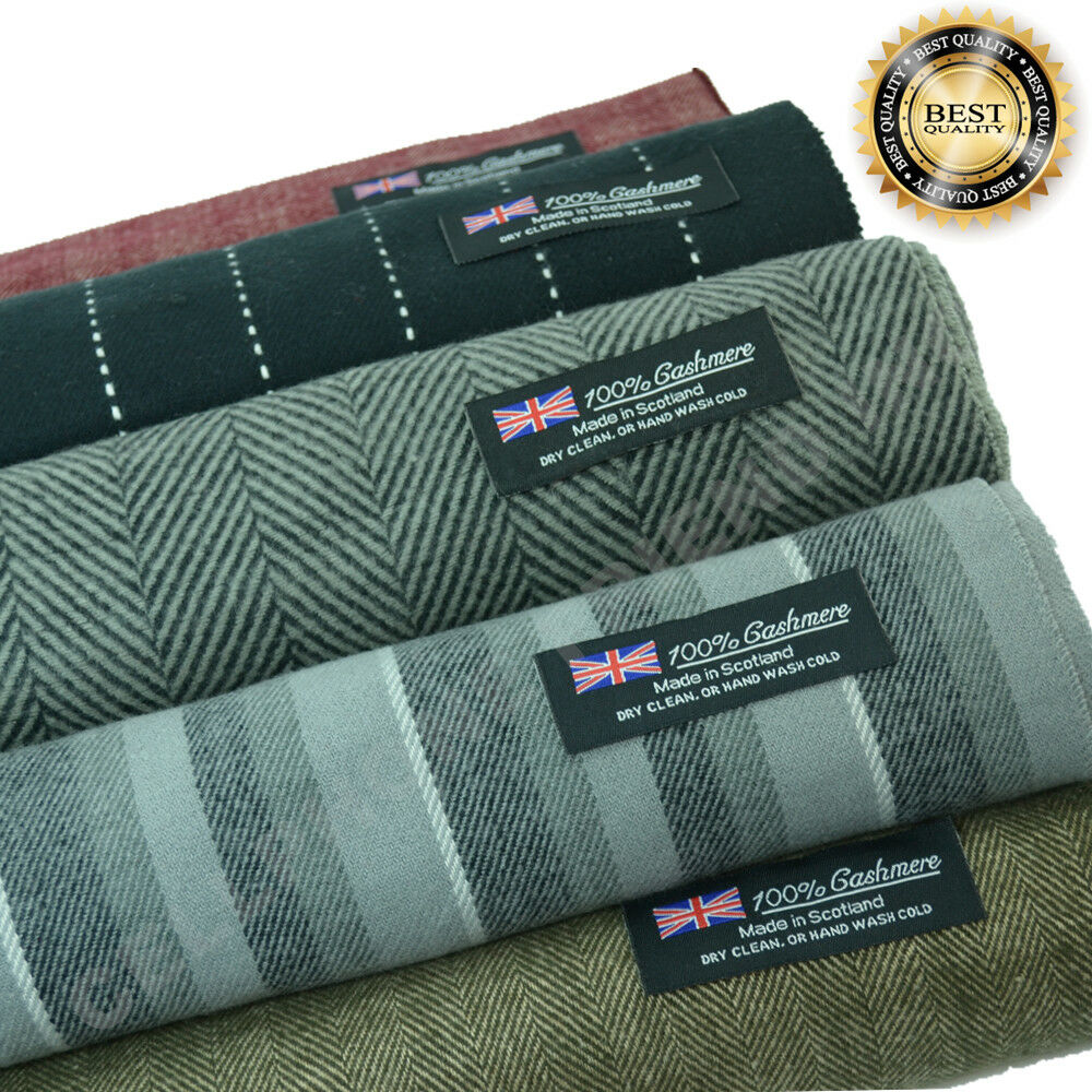 Scarf - Men Women unisex 100% CASHMERE Warm PLAIN Scarf pure THICK STRIPE Wool SCOTLAND