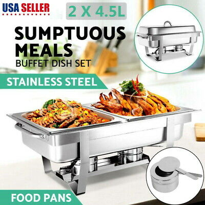 2 Slot 9l Dish Chafing Buffet Catering Folding Chafer Set Stainless Steel Wtray