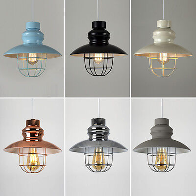 Industrial Easy Fit Ceiling Pendant Light Shade Caged Vintage Lampshade Copper