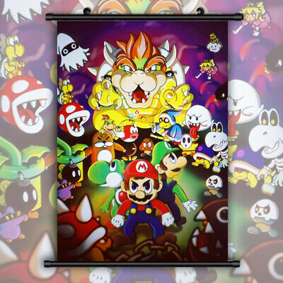 Super Mario Bros HD Print Anime Wall Poster Scroll Room Decor