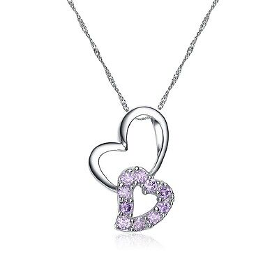 "Women 925 Sterling Silver Hearts Connected Pendant with ""18"" 925 Silver Necklace Fashion Jewelry"