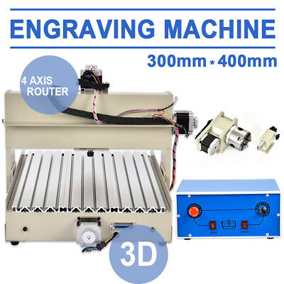 4 Axis Cnc 3040 Router Engraver Engraving Machine Wood Milldrill 400w Engraving