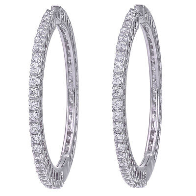 CZ Round Hoop Earring Swarovski Elements White Gold Plated  D2