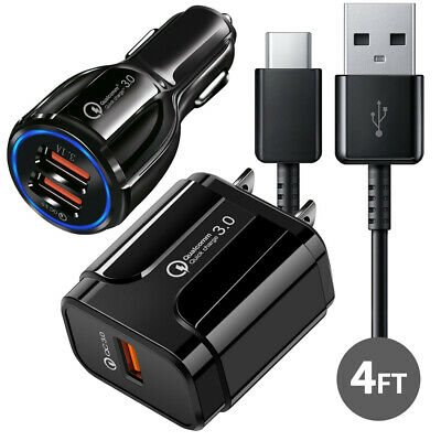 Original Samsung Galaxy Note8 S8 S9 Plus Fast Car Wall Charger +4FT Type-C Cable