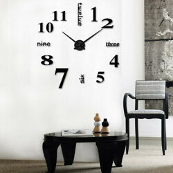 Modern DIY Large Wall Clock 3D Mirror Surface Sticker Home Decor Art Design Idea