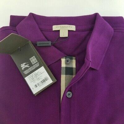 New Burberry Brit Men Deep Purple Amethyst Short Sleeve Check Polo Shirt (Purple Burberry Polo)