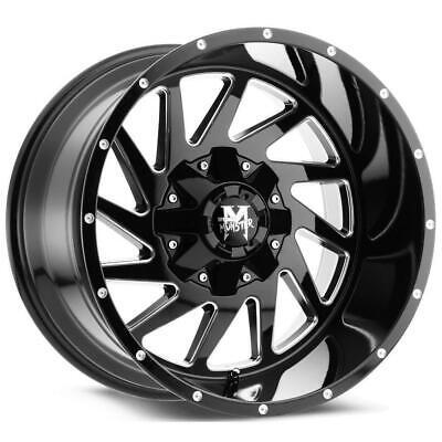 20 inch 20x12 Offroad Monster M12 BLACK MILLED wheel rim 6x5.5 6x139.7 -44
