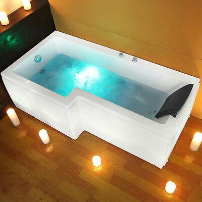 L Shaped Left Hand Whirlpool Bath Shower Spa Jacuzzi Massage Rectangle Bathtub