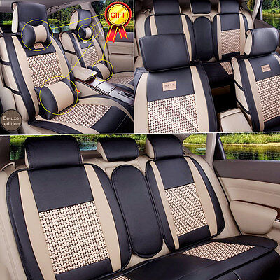 PU Leather Car Seat Cover 5 Seats Front+Rear Size L Mesh Cushion W/Pillow Summer