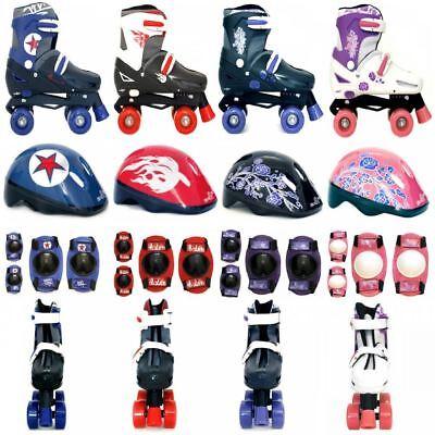 SK8 Zone Quad Skates Padded Kids Roller Boots Safety Pads Helmet Skate Xmas Gift