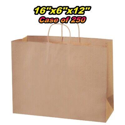 Kraft Paper Shopping Bag - Large 16x6x12 - Case Of 250
