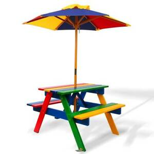 Kids Wooden Picnic Table Set with Umbrella Non Toxic Paint Fun Kings Beach Caloundra Area Preview