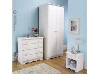 Ex-Display Trafford White 3 Piece 2 Door Wardrobe Chest Bedside Table Bedroom Set