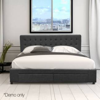 Double Fabric Bed Frame with Storage Drawers Dark Grey