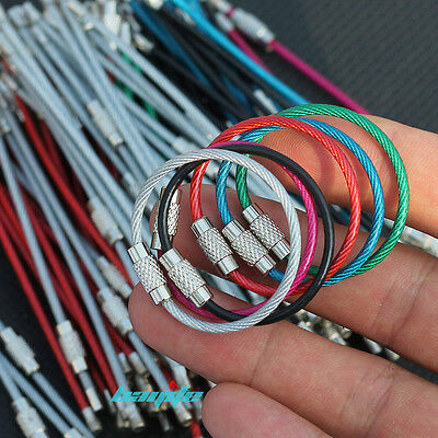 """12x Colorful Stainless Steel Wire Keychain Cable Screw Clasp Key Ring 10cm 4"""" US"""