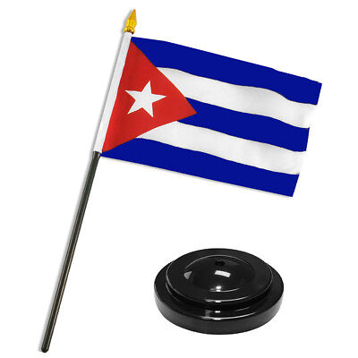 "Cuba Cuban Flag 4""x6"" Desk Set Table Stick Black Base"