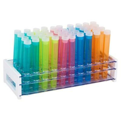 50 Tube - 16x125mm Assorted Color Plastic Test Tube Set With Caps And Rack