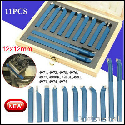 11x Metal 12mm Lathe Tools Knife Set Bits For Mini Lathe Cutting Tool Turning Us
