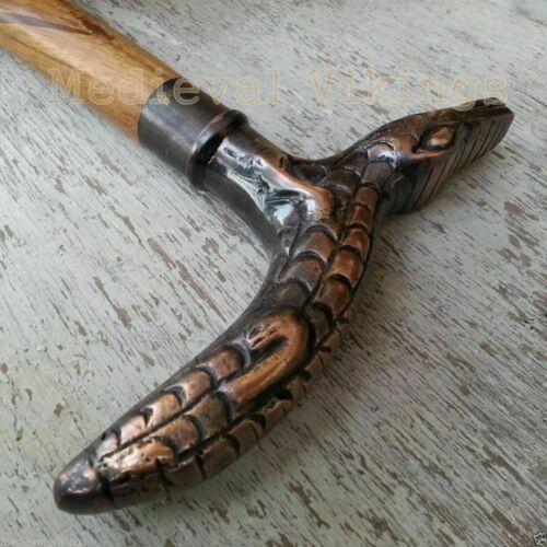 Antique Brass Crocodile Head Handle Vintage Style Wooden Walking Stick Cane Gift