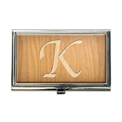 Letter K Wooden Engraving Business Credit Card Holder Case