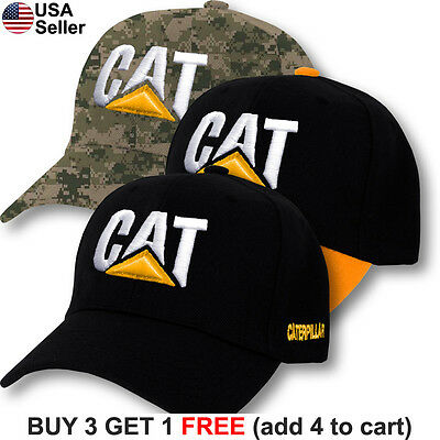 Construction Hats (Caterpillar Cap CAT Construction Logo Hat Embroidered Tractor Trucker)