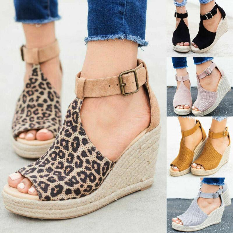 Women's Wedge High Heel Espadrilles Sandals Ankle Strap Casu
