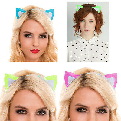 Neon Bright Colored Kitty Cat Ears Headband Cosplay Costume Hairband Halloween