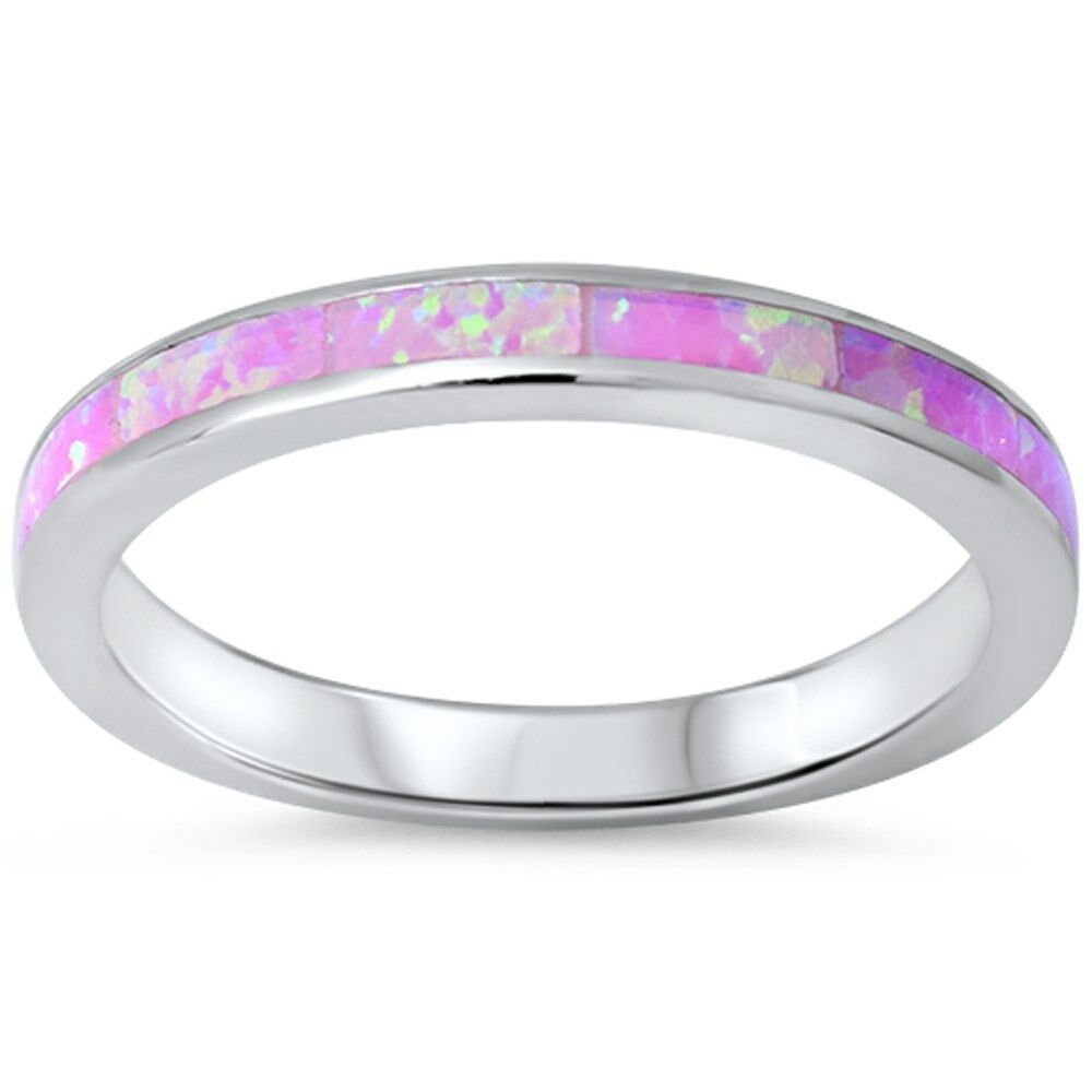 pink opal band 925 sterling silver ring