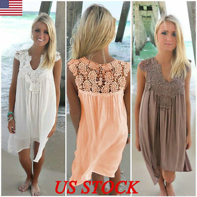 US Plus Size Sleeveless Party Tops Casual Women Loose Summer Beach Lace Dress