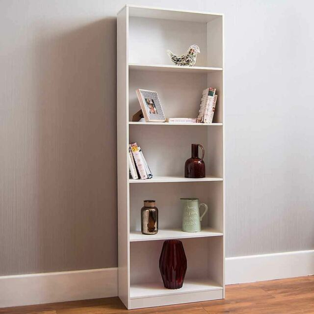 Cambridge 5 Tier Extra Large Bookcase Display Shelving Storage Unit Stand White