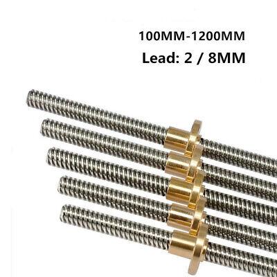 T8 Lead 2/ 8mm Rod Stainless Lead Screw Linear Rail Bar 100mm - 1200mm